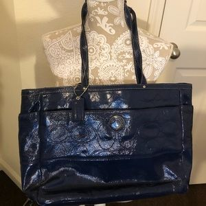Authentic Dark blue Coach patent leather baby bag